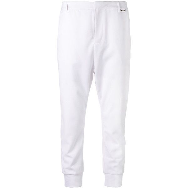 Twin-Set Cropped Trousers ($208) ❤ liked on Polyvore featuring pants, capris, white crop pants, white trousers, cropped capri pants, white cropped trousers and white pants