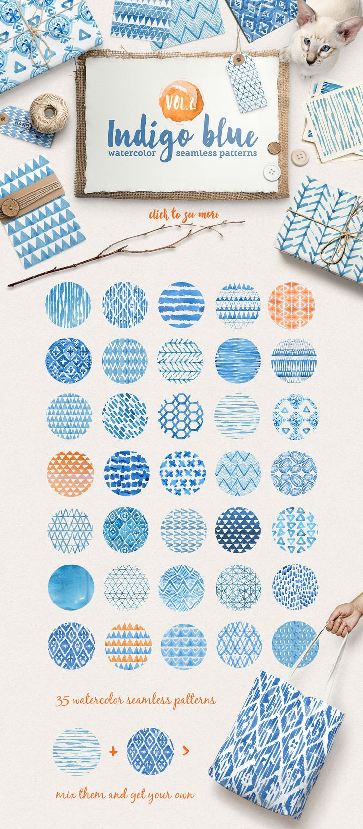 Introducing Volume 2 of the my new handy watercolor patterns collection! Set of 36 lovely indigo blue watercolor seamless patterns. Perfect for branding, websites, digital media, packaging design, greetings, invites, weddings, apparel, merchandise designs, scrapbooking, home decor (pillows, towels, napkins), fashion and so much more.