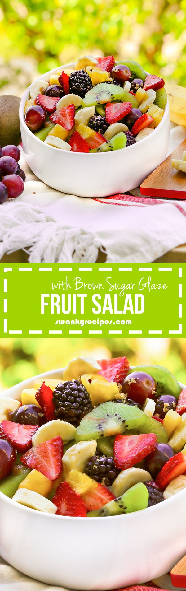 Fruit Salad with Brown Sugar Glaze - Fun recipe for summer parties and holidays.  Our family makes this recipe all the time and loves it, especially the juice glaze! #FreshWorks #ad #FreshWorksCrowd