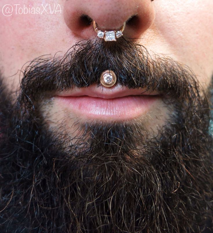 """tobiasxva: """" Jeff's philtrum piece came in today! Healed piercing by me, jewelry by BVLA. """""""