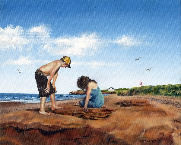 PEI Vacation. my best friend's kids at our favourite campground. Twin Shores on Prince Edward Island, Canada. Painted with oil paints.