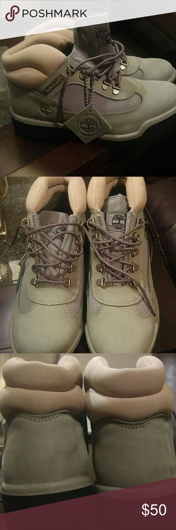 Timberland Field Boots in Powder green NWT Timberland Field Boots in Powder Green. Has a beige trim on top. These have never been worn. Timberland Shoes Winter & Rain Boots
