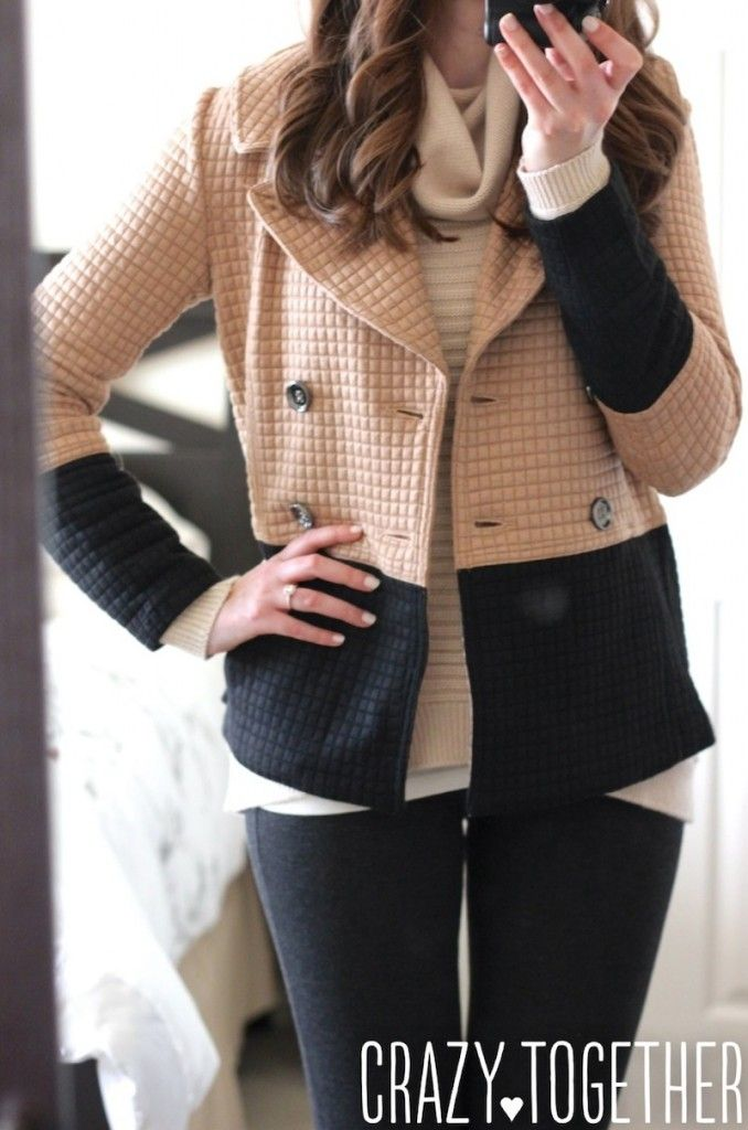 Pierina Textured Colorblock Peacoat from Stitch Fix with Abbot Crew Neck Elbow Patch sweater, October 2014 blog review