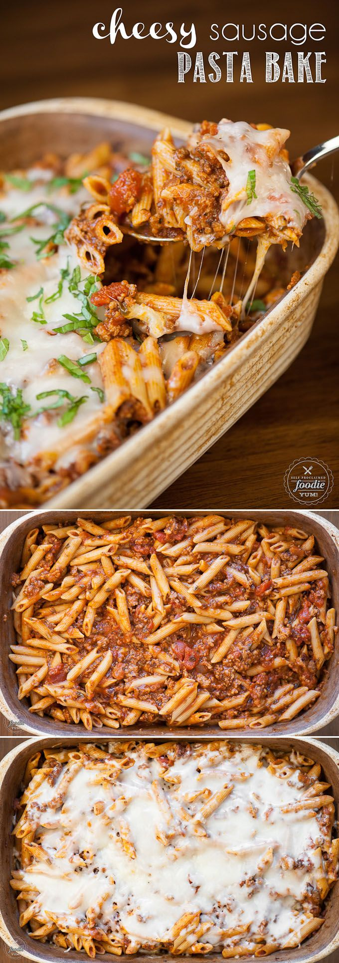 Whether you're making a kid friendly family dinner or preparing a big meal to delivery to another family, this Cheesy Sausage Pasta Bake is sure to please! (Favorite Family Dinners)
