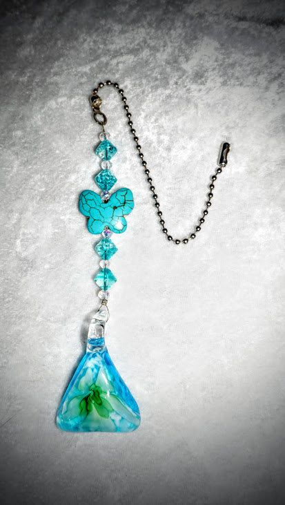 Turquoise Floral, Lampwork Glass Pendant,    Ceiling Fan Pull,   One of a Kind,  Turquoise Light Pull,    Ready To Ship by EarthDreamsbySunLi on Etsy