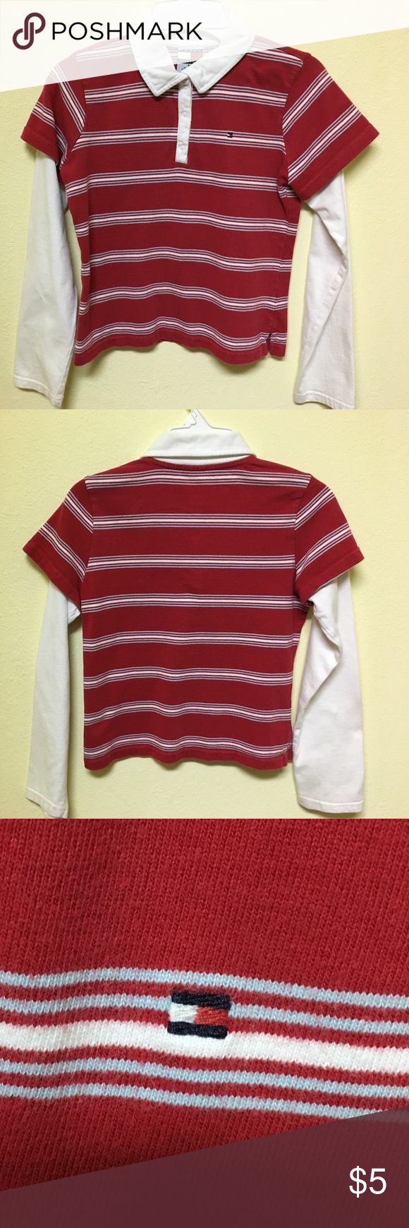 Tommy Hilfiger Girls Size Med Red and White Shirt Tommy Hilfiger Girls Size Med Red and White Shirt Tommy Hilfiger Shirts & Tops Tees - Long Sleeve