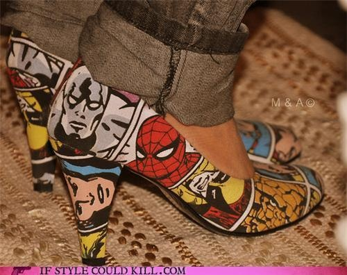 Spiderman Comic PumpsGeek, Shoes, Comics Book, Dc Comics, Marvel Comics, Fashion Heels, High Heels, Comics Strips, Superhero