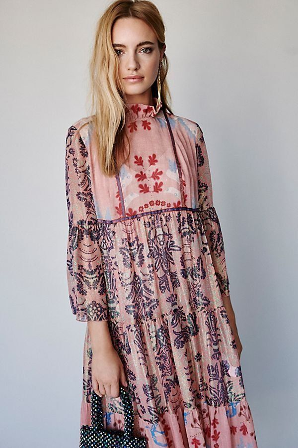 34cc87ad0f Feathers and Foliage Midi Dress - Sheer Pink Midi Dress with Long Sleeves  and Ruffled Neck