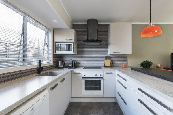 Modern kitchen with a pop of colour