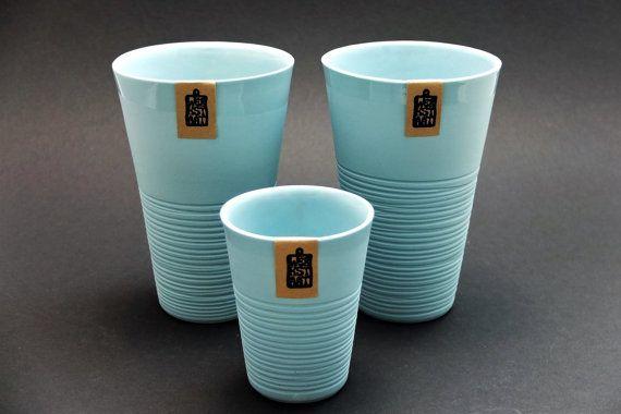 Mint green porcelain mug, contemporary ceramics, modern mug, mint green kitchenware, ripped mug, coffee mug