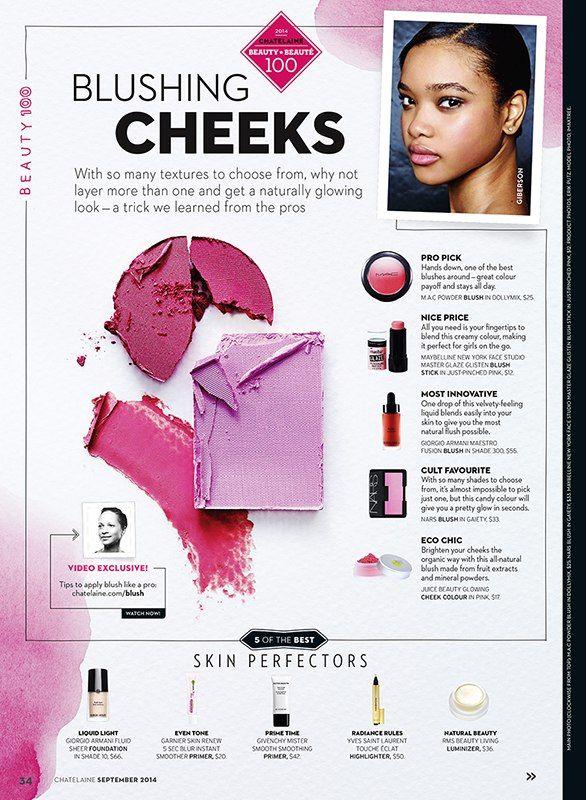 Suzy Johnston + Associates | Natasha V. for Chatelaine Magazine's September Issue #cosmetics #beauty #makeup #blush #ChatelaineMagazine