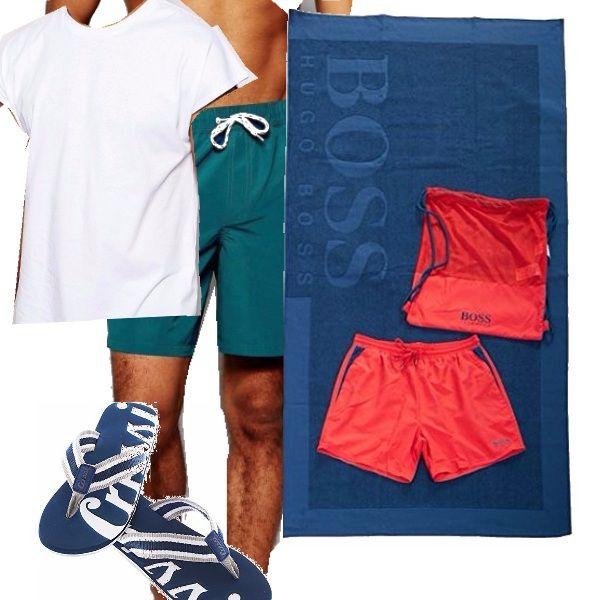 Boxer blu e t-shirt bianca abbinati a infradito blu e bianchi, come blu è il telo... il tutto nella sacca rossa Hugo Boss con abbinato il pantaloncino di ricambio.