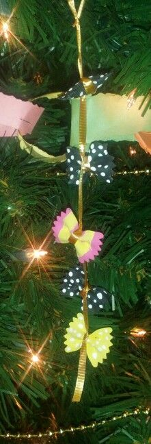 Bow tie pasta Christmas ornament...co-worker made these at work so cute looking on the tree :)