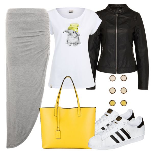 Freizeit Outfits: RockigerHase bei FrauenOutfits.de Das ist ein lässiger und cooler Altags-Outfit. Ein grauer Rock wird mit einer rockigen Lederjacke und coole Sneakers von Adidas kombiniert. Das Shirt mit Hasenprint verleiht dem Outfit etwas süßes.