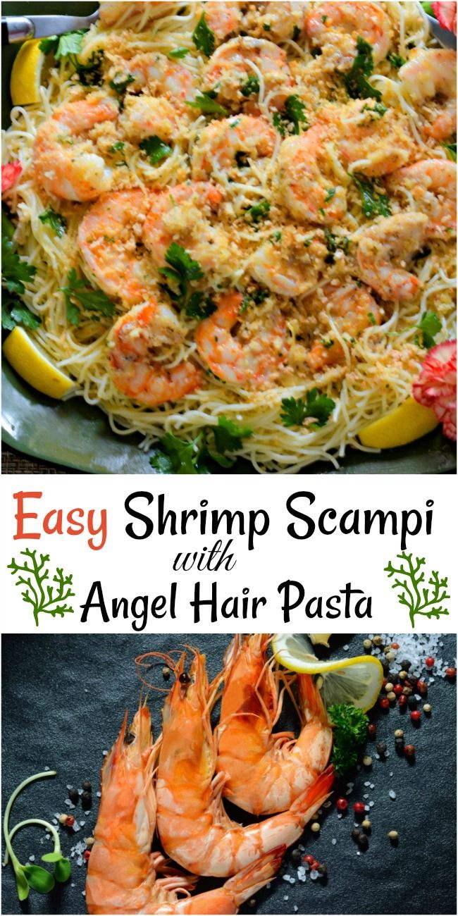 Easy shrimp scampi over angel hair pasta and topped with breadcrumbs, parmesan cheese, and parsley served on a dark green platter surrounded by lemon slices and 2 pink dianthus.