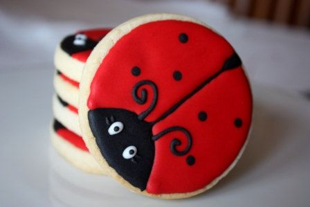 One dozen Ladybug cookie favors by WhimsicalOriginalsDB on Etsy