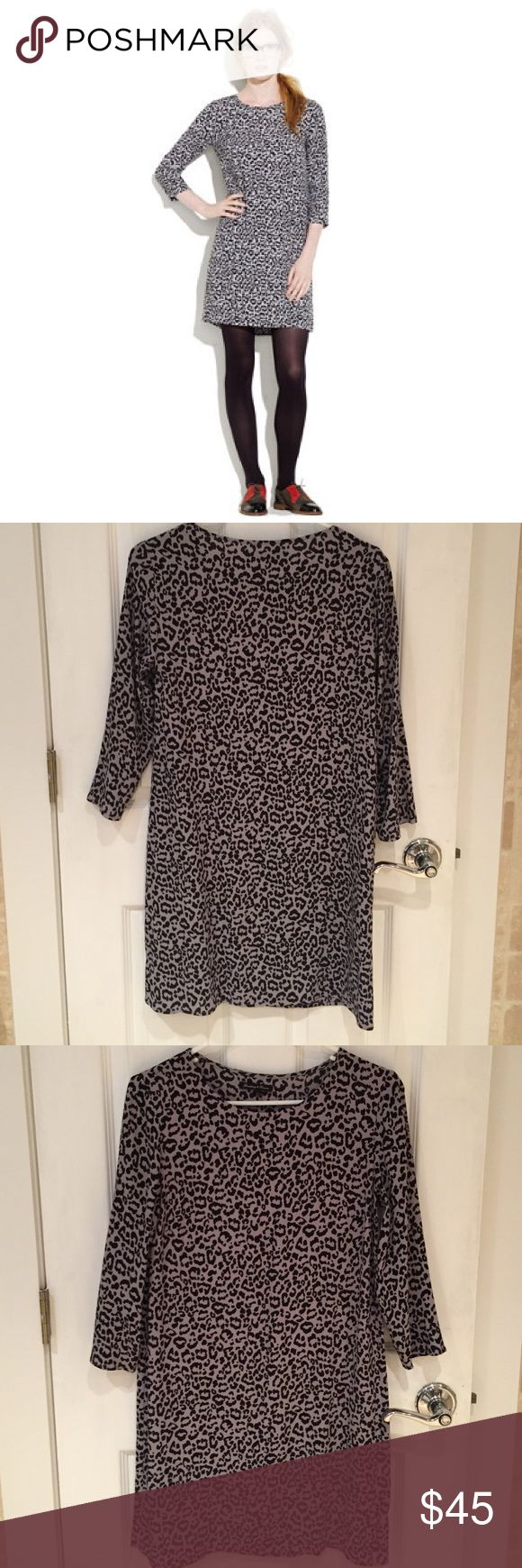 Madewell leopard print shift dress, can Go to party dress or can be dressed down with casual booties/ flats. Excellent condition, no flaws to note. Worn only two times. The true color of the dress looks like the first and last pic. My bathroom light altered the true color slightly. Madewell Dresses