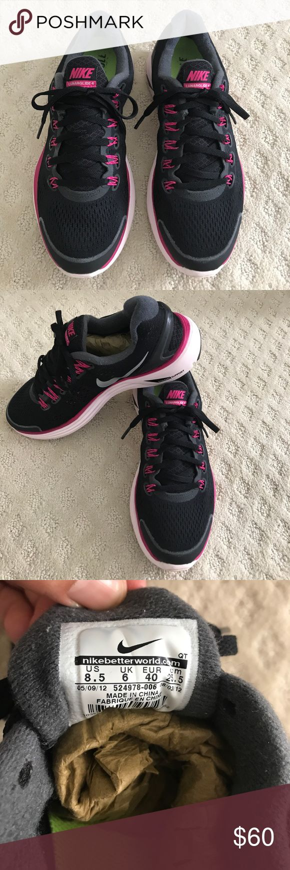 ⚡️Nike LunarGlide 4 Sneakers⚡️ Nike Lunarglide sneakers in great used condition! Very comfortable sneakers with extra dynamic support. Sneakers have some scratches in the back and one small scuff as pictured with flash. Size 8 1/2. Color- black, fuchsia and baby pink. Nike Shoes Sneakers