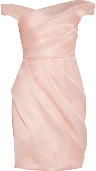 Lela Rose Pink Pleated Silk Organza Dress