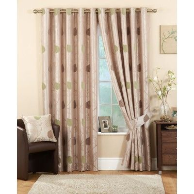 Pemberley Ready Made Curtains Green    Contemporary Eyelet Heading  Fully Lined Curtains  Modern Leaf Pattern  Matching tiebacks available  Matching cushions also available