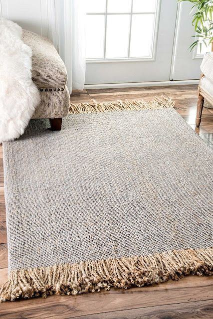 gray jute rug with fringed edges