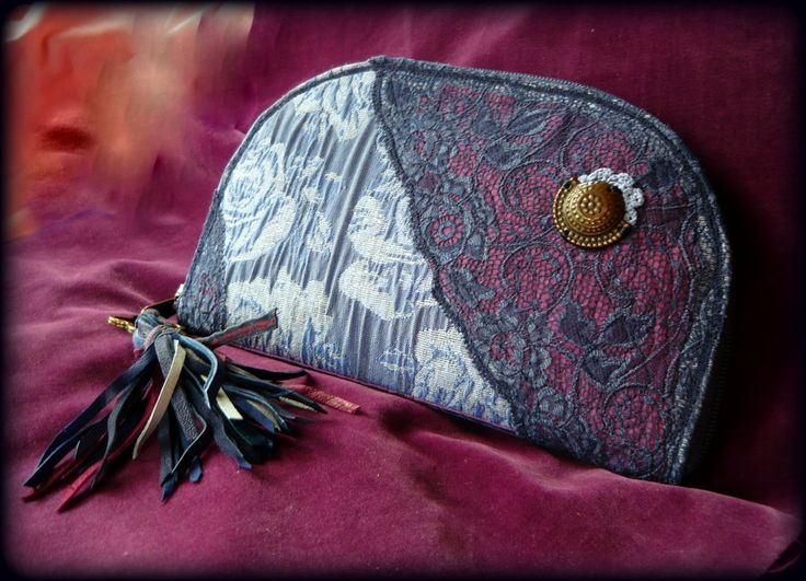 Handmade by Judy Majoros - Fringe wallet-clutch with rose decorations, and lace and leather fringe. Recycled wallet-bag