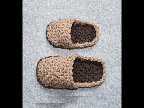 Crochet Sole of a Shoe - Sizes for Baby & Child - Triangle Star Stitch - puffed - YouTube