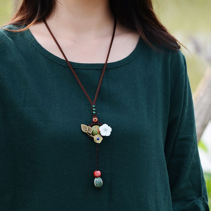 Original design Cute Turquoise ethnic shell bronze flower agate pendant women long necklace Handmade vintage jewelry