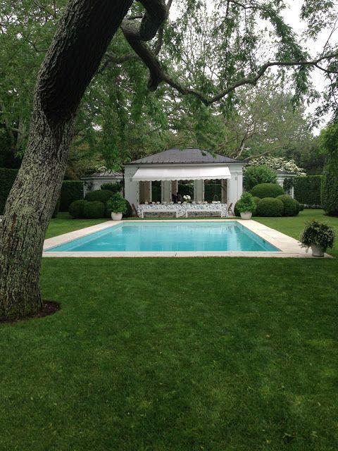 Aerin Lauder's pool in the Hamptons via Habitually Chic.