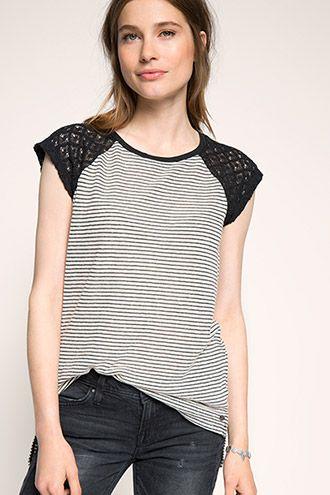 edc - T-shirt med striber og blonde-ærmer i Esprits Online-Shop