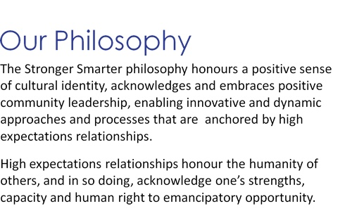 The Stronger Smarter philosophy honours a positive sense of cultural identity, acknowledges and embraces positive community leadership, enabling innovative and dynamicapproaches and processes that are anchored by high expectations relationships.