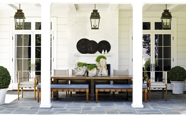 Jeffrey Alan Marks. Fabulous veranda. Blue/Green/White. -via Interior Canvas