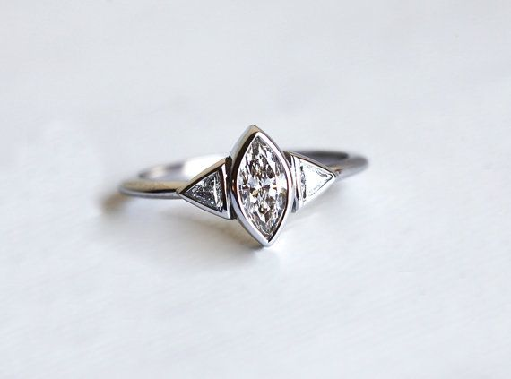 Marquise Diamond Engagement Ring Trillion Diamond by capucinne