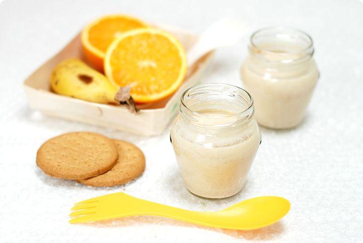Yogur de plátano, naranja y galletas con Thermomix | Velocidad Cuchara