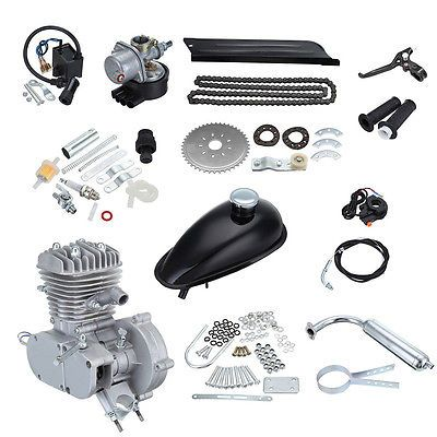 Silver 80CC 2-Stroke Cycle Motorized Gas Engine Motor Kit For Bicycle Bike Kits