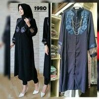 Maxi tipe 1980, bahan crincle rose embroidery, pjg 120 LD 102, Rp. 147 rb