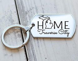 My Michigan Home Town Personalized Engraved Custom Key Chain