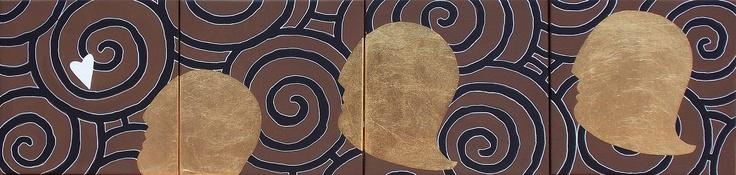 """andrea mattiello """"In corsa per l'amore""""  acrilico e foglia oro su tela cm 80x20 (4 tele cm 20x20); 2013"""