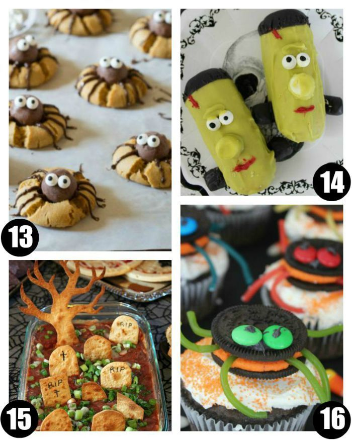 Halloween Food Crafts for Kids on Frugal Coupon Living. Classroom Snack Ideas, spooky food for kids, and October snack ideas.Halloween Party Snacks including  Chocolate Peanut Butter Spider Cookies, Halloween Frankenstein Twinkies, Graveyard Taco Dip, and Halloween OREO Stuffed Spider Cupcakes.
