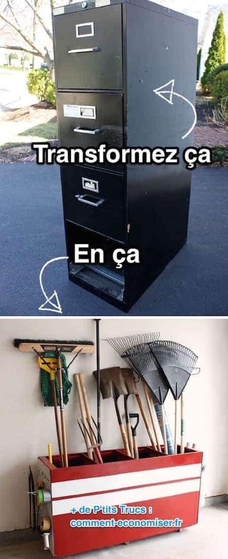 Comment recycler un vieux classeur de dossiers en métal en un meuble ?
