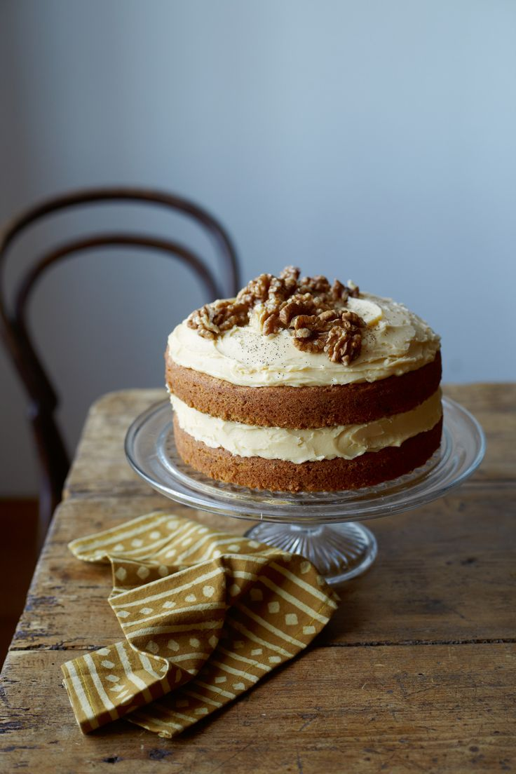 Coffee and Walnut Cake recipe by Romilla Arber. . Serves 8. Find more great #Cake, Desserts #recipes at Kitchen Goddess.
