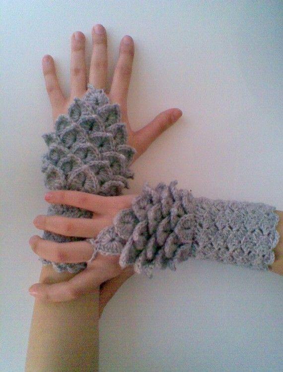Dragon Gloves Knitting Pattern : Crocodile Stitch Gray Gauntlets-Fingerless Gloves ...