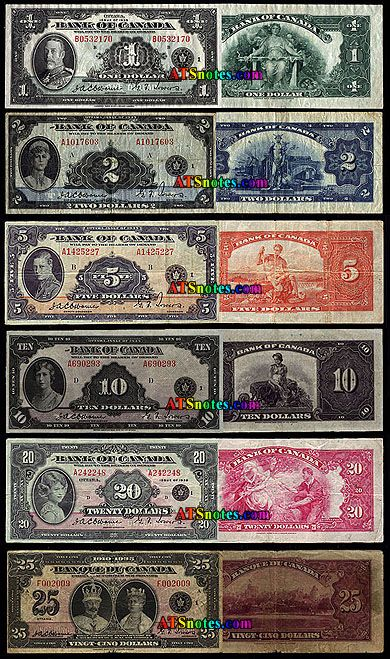 1935 Canada banknotes - Canada paper money catalog and Canadian currency history