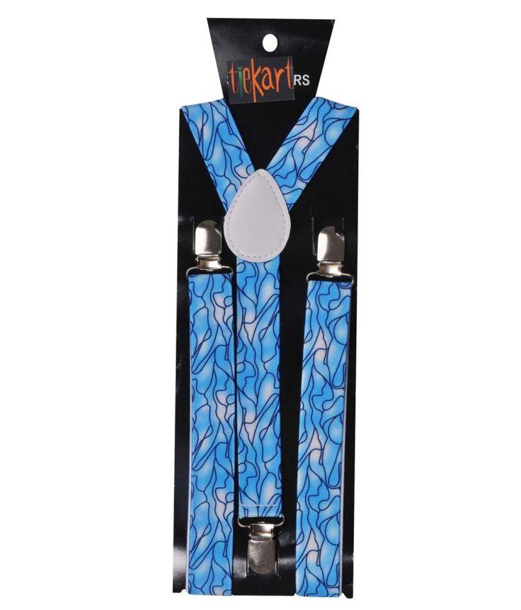 Tiekart Blue Polyester Suspender