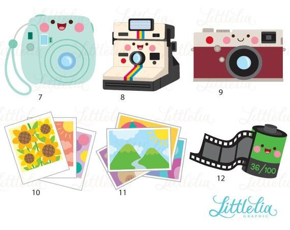 Camera kawaii. Clipart manualidades