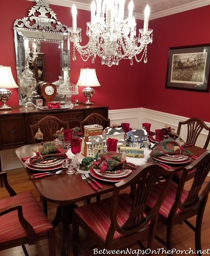 A Christmas Vacation Table Setting With Dept 56 Lit Houses Bnotp