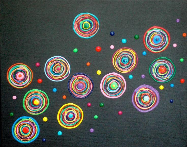 Acryl Leinwand Bild Silberstreif ART Kunst Wandbild bunt schwarz Kreise abstrakt
