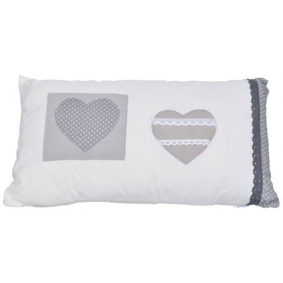 Poduszka biała z sercami 50x30