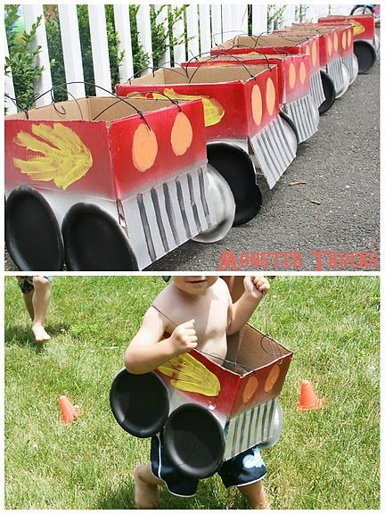 "monster truck party game - Buy small shipping boxes, cut the flaps off one side. Spray paint top part red, bottom metallic. Use black party plates for the tires. Paint on truck decal and headlights. Punch holes and string black twine. The back of each ""truck"" has a ""license plate"" with the children's name on it (made in word processing)."