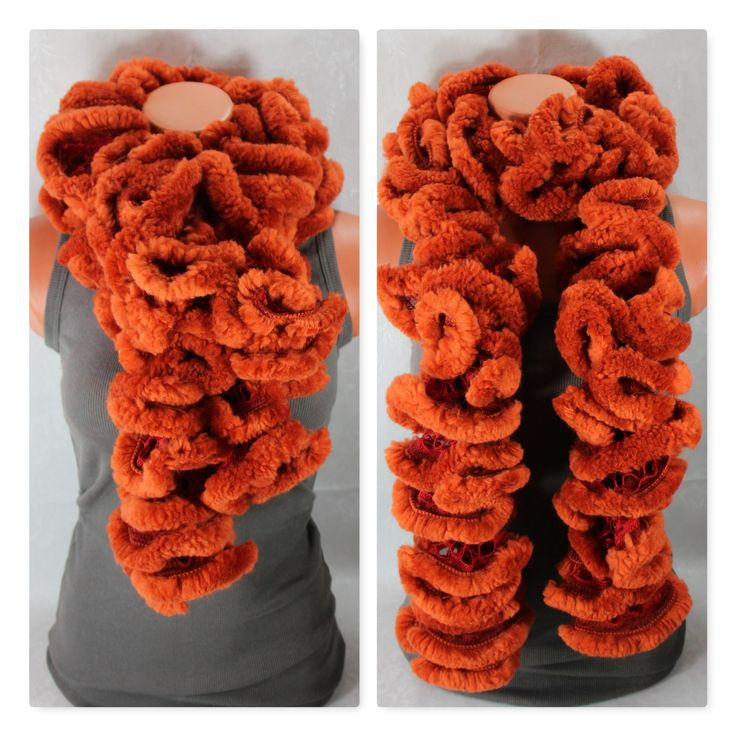 Knit scarf, rust ruffles scarf, knitted winter scarfs, scarves for women, fake f…
